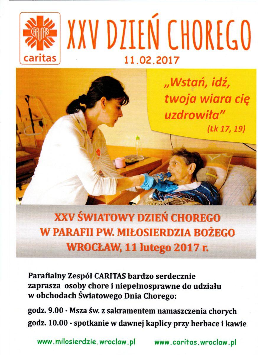 Plakat informujący o obchodach Światowego Dnia Chorego w parafii pw. Miłosierdzia Bozego we Wrocławiu w lutym 2017 roku.